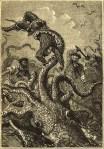Ilustración de la edición original de 'Veinte mil leguas de viaje submarino, en la que aparece un calamar gigante. Fuente: wikipedia.org.