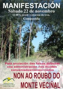 Cartel. Manifestación 'No al robo del monte vecinal'. Santiago de Compostela, 22 nov. 2014. Fuente: stopexpolio.com.