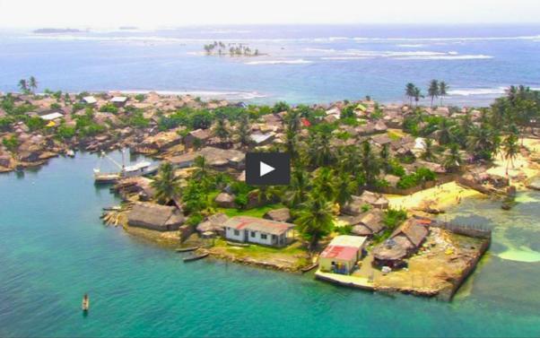 La isla de Gardi Sugdub, Gunayala, Panamá, tendrá que ser deshabitada. Fuente: telemetro.com.