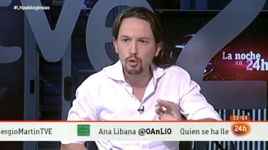 El líder de Podemos, Pablo Iglesias, durante la entrevista en 'La noche en 24 horas'. Madrid, 5 nov. 2014.