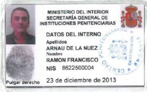 Ficha del interno Ramón Francisco Arnáu de la Nuez. 23 dic. 2013.
