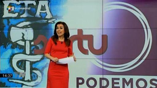 Infografía de ETA , Sortu y Podemos en el Telenoticias de Telemadrid. 8 dic. 2014. Eldiario.es.