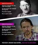 Propaganda contra Podemos comparando a Hitler con Pablo Iglesias. 2014.