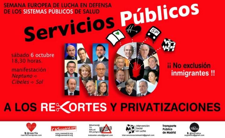 Semana Europea de Lucha en Defensa de los Servicios Públicos. Madrid, 1-6 oct. 2012. Fuente: unecologistaenelbierzo.wordpress.com.