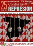 Cartel. Concentración contra la Ley Mordaza. León, 25 enero 2015.