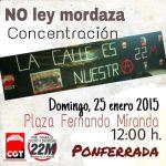 Cartel. Concentración contra la Ley Mordaza. Ponferrada, 25 enero 2015.