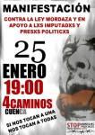 Cartel. Manifestación contra la 'Ley Mordaza' en Cuenca. 25 enero 2015.