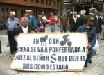 Protesta contra el recorte del trasnporte público. Ponferrada, 16 sept. 2009. Foto: Enrique López Manzano.