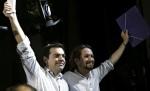 AlexisTsipras y Pablo Iglesias (De izq a dcha). 22 enero 2015. Yelling.es.