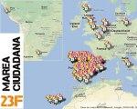 23F. Mapa de manifestaciones. Mareas Ciudadanas.