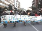 Pancarta. 23F. 'No debemos, no pagamos'. Ponferrada, 23 febr. 2013. Foto: Enrique L. Manzano.
