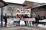 Protesta contra los combustibles fósiles. universidad de Uppsala. Uppsala (Suecia). 13 febr. 2015. 350.org. Foto: Håkan Emilsson.