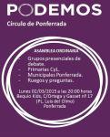 Cartel convocando a una  asamblea del Círculo Podemos Ponferrada. Ponferrada, 2 marzo 2015.