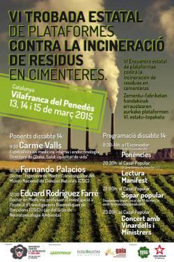 Cartel. VI Encuentro de Plataformas contra la Incineración de Residuos en Cementeras. Fernandopalacioseco.wordpress.com.