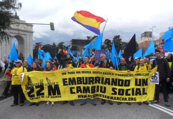 La columna asturiana llega a Madrid, 21 marzo 2015. Foto: Enrique L. Manzano.