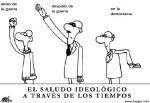 'El saludo ideológico a través de los tiempos'. Fuente: forges.com.