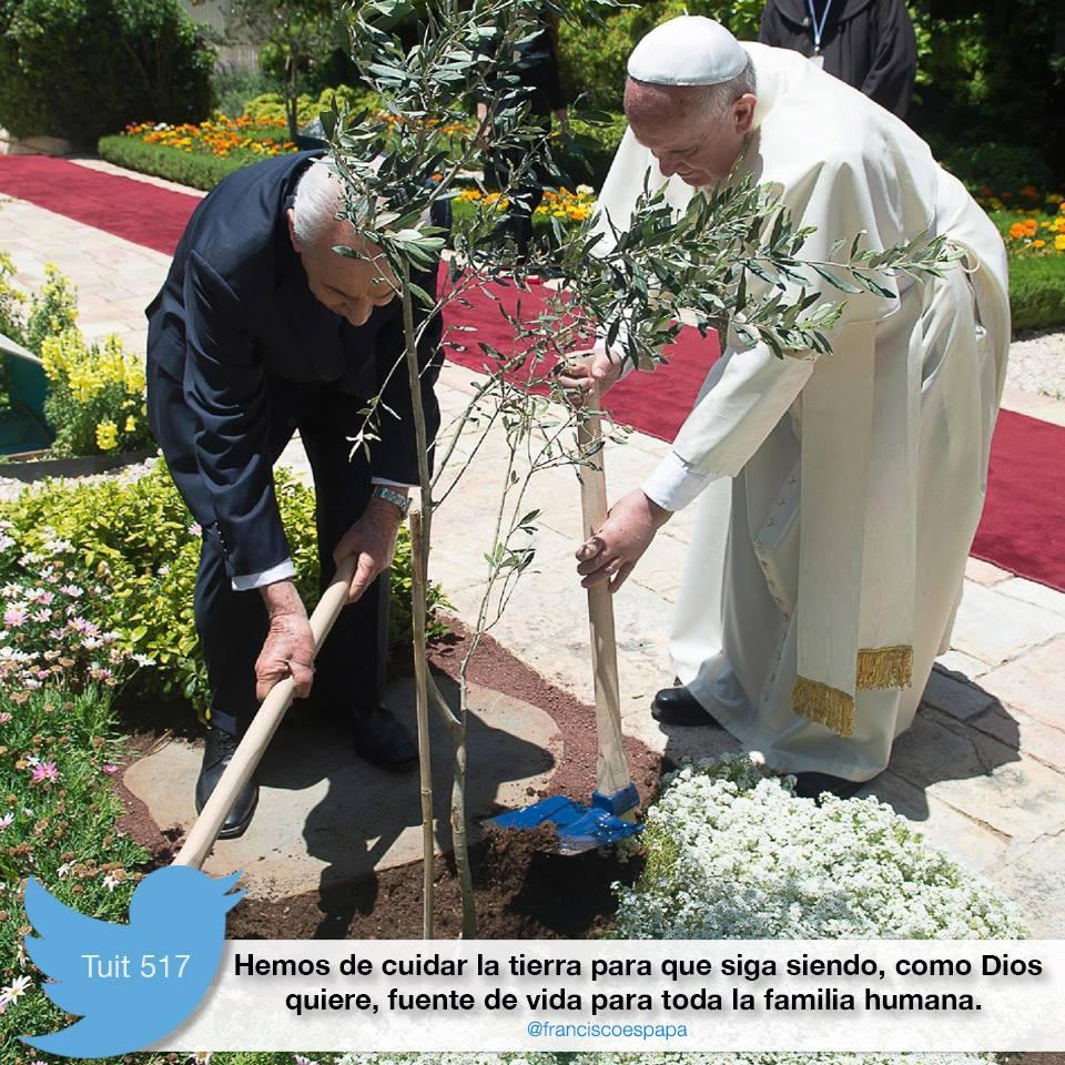 Una imagen del Papa Francisco realizando labores de jardinería. 2015. Facebook.