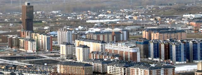 Una vista aérea del barrio de la Rosaleda. 2012.