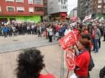 Aspecto de la plaza durante el mítin final. Primero de Mayo. Ponferrada., 1 mayo 2015. Foto: Enrique L. Manzano.