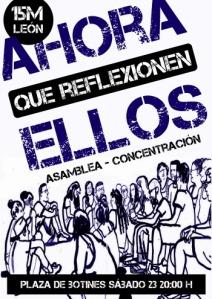 Cartel. Asamblea 15M. León, 23 mayo 2015. Ileon.com.