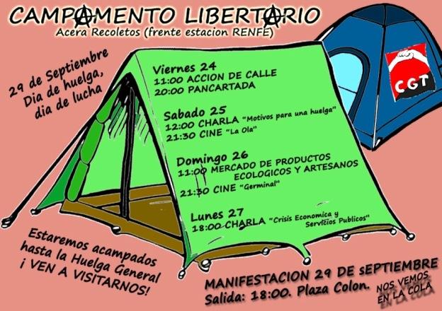 Cartel del Campamento libertario impedido por la policía. Fuente Cgtcyl.org. Valladolid, 23 sept. 2009. Cgt-cyl.org.
