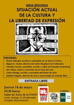 Cartel. Libertad de expresión. CCOO. Ponferrada, 14 mayo 2015.