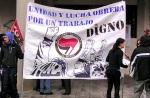 Pancarta de la Plataforma Antifascista El Bierzo. Ponferrada, 1 mayo 2012. Bierzocomarca.eu.