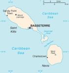 Mapa de San Cristóbal y Nieves en el Mar Caribe. Wikipedia.org.