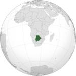 Situación de Botsuana en el continente africano. Wikipedia.org.