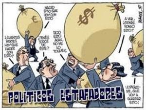 Viñeta. 'Políticos estafadores'.