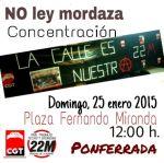 Cartel. Concentración 'No a la Ley Mordaza'. Ponferrada, 25 enero 2015.