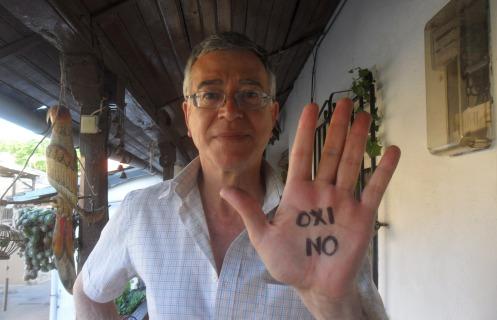 Arganza, 3 jun. 2015. 'OXI NO'. Apoyo a Grecia contra la Troika. Foto: Marta Luz Arango.