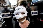 Manifestación contra la ley Mordaza. Barcelona, 2015. Noalaleymordaza.periodismohumano.com.