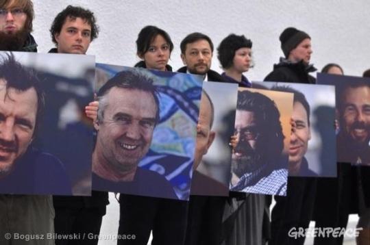 Acto para pedir la liberación de los Artic30. 2014. Greenpeace.org.