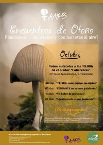 Cartel. Encuentros de otoño. 30 sept - 21 octubre 2015. Mujeresprogresistasbercianas.wordpress.com.