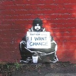 Graffiti. 2012. 'Quiero un cambio'. Basuradelxxi.blogspot.com.es.