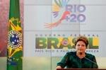 La presidenta brasileña Dilma Rousseff en la presentación de la Cumbre Tierra 'Río + 20'. 20 jun. 2012. Periodistas.org.