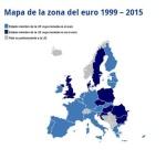 Mapa de la zona del euro 1999-2015. Ecb.europa.eu.