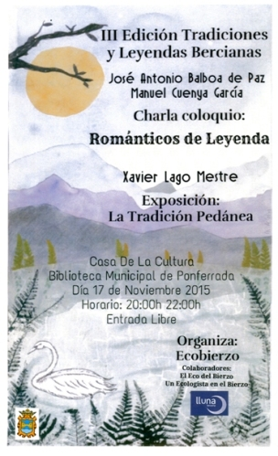 Cartel. III Encuentro de Tradiciones y Leyendas Bercianas. 27 nov. 2015. Autora: Marta de Castro.