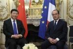 El presidente chino Xi Jinping y su homólogo francés, Francois Hollande, en una reunión previa al inicio de la Cumbre sobre Cambio Climático. París, 29 dic. 2015. Solochina.wordpress.com.