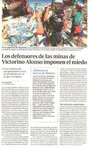 Laciana. Artículo en ABC denunciando el clima de miedo impuesto por grupos mineros descontrolados. Madrid, 8 jul. 2012. Abc.es.