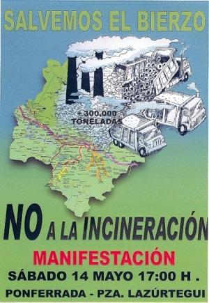 Cartel. ¡No a la incineración . Fuente: ecobierzo.org.