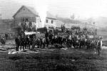 Ponfeblino. Inauguración de la estación de Villablino del Ponfeblino, en julio de 1919. Ileon.com.