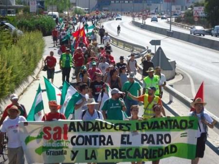 La marcha campesina 'Andalucía en pie' a su paso por Sevilla. 5-7 sept. 2012. Anticapitalistasevilla.org.
