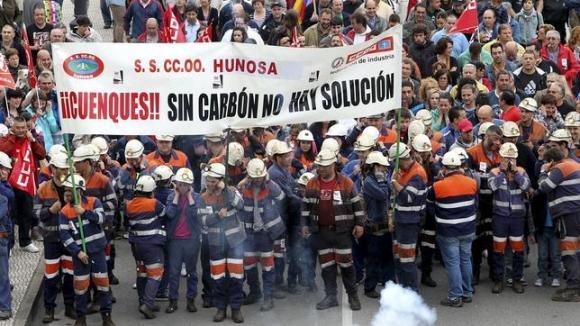 Manifestación minera en Langreo. 2012. Efe.