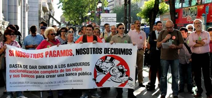 Una concentración de la Plataforma por una Banca Pública. 2011. Madrid.