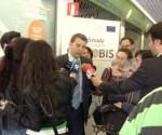 López Riesco en la inauguración de la Oficina de la Movilidad a la cual no se invitó a Ecobierzo,  pese a ser su blog el único que trata específicam estos temas. Ponferrada. 2010.