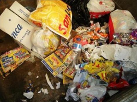 Interior de un cotenedor de basura orgánica en Ponferrada.
