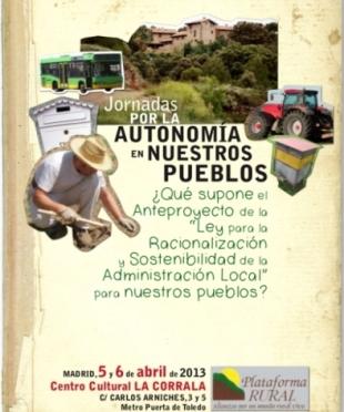 Jornadas por la Autonomía en Nuestros Pueblos. Madrid, 5-6 abril 2013. Tomalatierra.org.