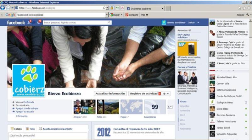 La página en Facebook de Bierzo Ecobierzo. 2012. Fuente: ecobierzo.org.